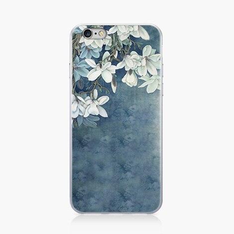 Китайский Книги по искусству ветер орхидеи чехол для iphone 7 7 plus светло-голубой цвет чехол для iphone 6 6 S Plus 6 Plus Капа fundas мобильный телефон