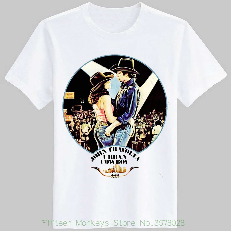 print t shirt o neck short urban cowboy t shirt retro 1980