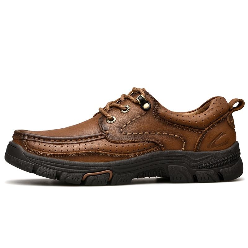 Printemps En Air Véritable Brown Plein automne Hommes Leathe Main Confortable De Cuir La Chaussures Casual Vache À Khaki 2018 red Fqgwdtd