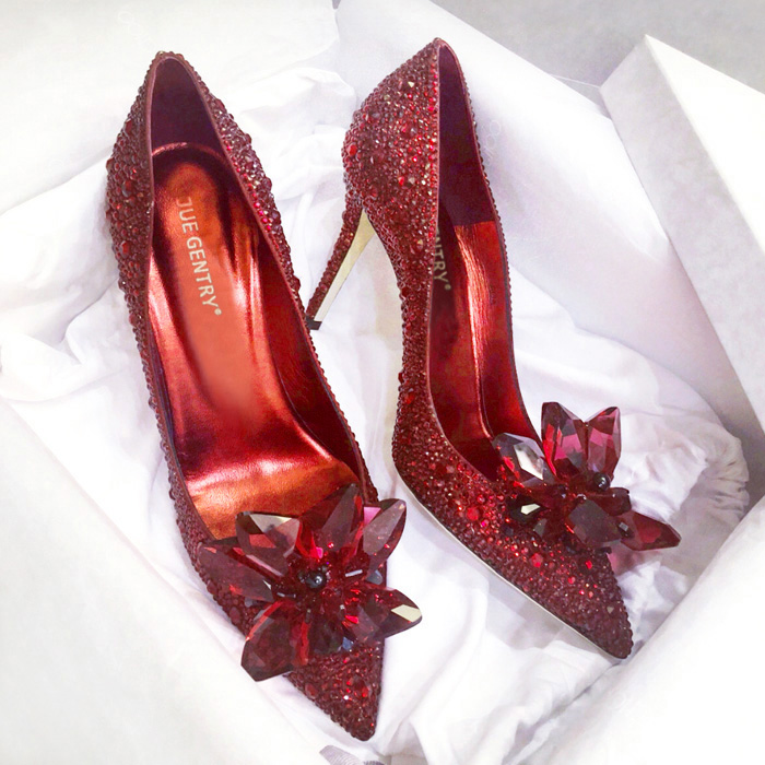 Cinderella Crystal Shoes 2018 New Pointed High Heels Fine With Rhinestone Wedding Shoes Red Bridal Shoes Wedding Shoes Women