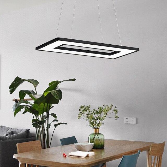 Modern Pendant Lights for Kitchen office dining room lustre de plafond moderne 110V 220V Black White rectangle LED Pendant Lamp