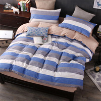 coxeer Classic 4Pcs Bed Sheet Set Cotton Modern Lattice Printed Comforter Duvet Cover Bedding Set With Pillowcase For Bedroom