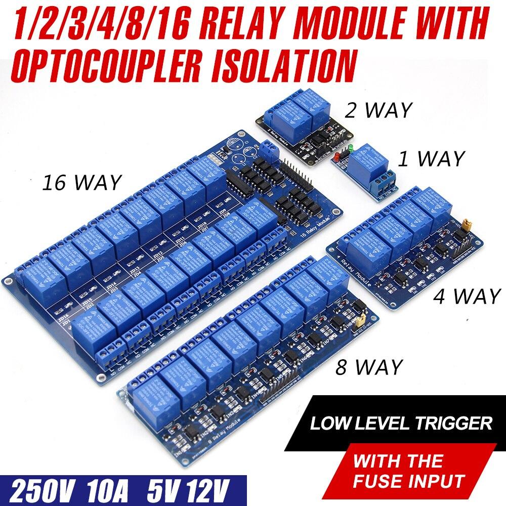 WAVGAT 5V 12V low level trigger 1 2 4 8 16 Kanal Relais Modul interface Board Schild Für PIC AVR DSP ARM MCU Arduino|Integrierte Schaltkreise|   - AliExpress