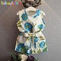 Nuevos Niños Ropa de Verano Bebé de La Manera Muchachas Conjuntos Flores Diseño t-shirt + Shorts de Dos Piezas de Ropa de Los Niños Sets 0-7Year BC1047