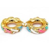 Luxury Gold Hoop Earrings For Women Colorful Wheel Tyre Enamel Glaze Ear Rings Wedding Jewelry 2017