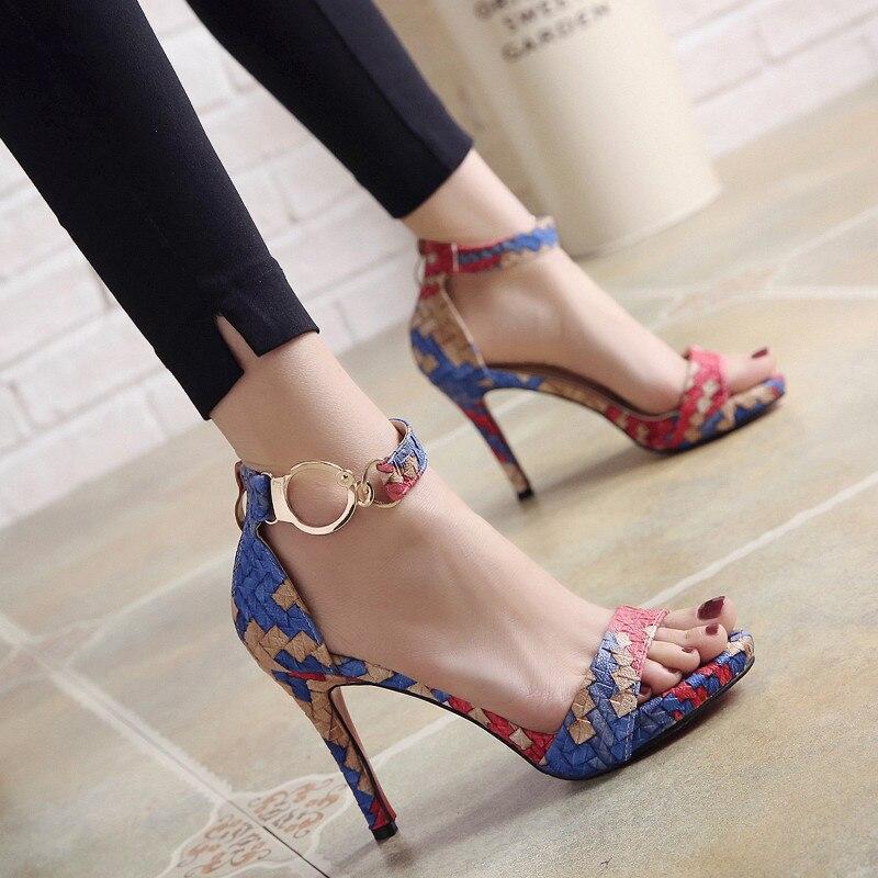 Zapatos Picante Color Punta Verano Altos; Impermeable 2 Mujer 1 2018g De Hebilla Tacones Correa Palabra Con Sandalias Nuevo Abierta 65AR1q4fyY