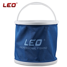 Hot Sale LEO 3 Color Outdoor Canvas Bucket Folding Bucket Portable Hiking Camping Fishing Tackle Tools Fishing Bucket With Pouch