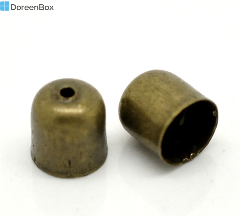 Doreen Box Lovely Antique Bronze Necklace End Tip Bead Caps 8x7mm(Fit 6mm Cord), sold per lot of 100 (B17312) end tab file pockets with cut away front corner legal 11 point manila 100 box sold as 1 box