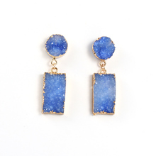 1Pair Female Resin Stone Dangle Druzy Earings For Women Jewelry Handmade Drusy Drop Earing Eardrop Christmas Earrings E1088
