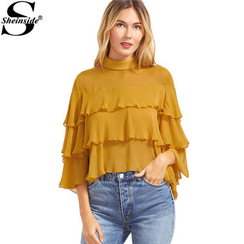 Sheinside Womens Tops and Blouses 2017 Spring Women European Fashion Yellow Buttoned Keyhole Back Layered Ruffle Blouse