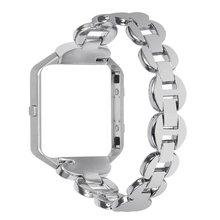 Нержавеющая сталь серебро группа replece фитнес ремень с Рамки + адаптер браслет Аксессуары для fitbit Blaze на смарт-часы