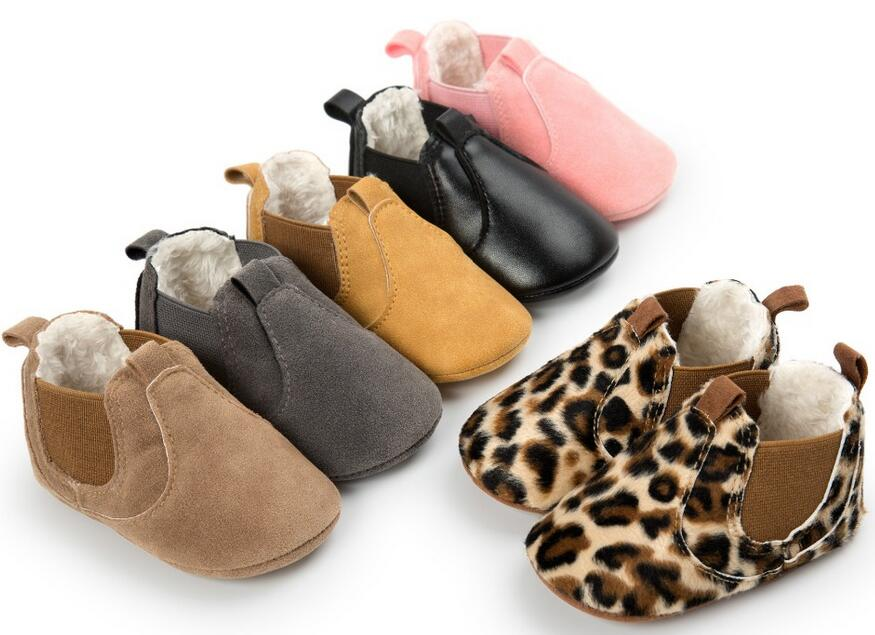 Winter Warm With Fur Baby Moccasins Shoes Baby Elastic Band Girls Boys Fashion Boots Baby Boots Soft Rubber Sole