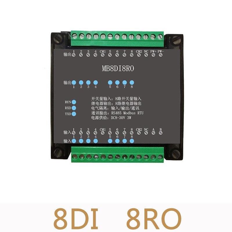 2pcs/lot 8DI/8RO 8 Road digital isolation input 8 road relay digital output data acquisition module RS485 Modbus communication