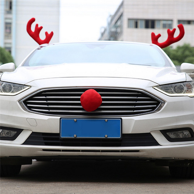 Christmas Car Decoration 1 Set Big Red Christmas Elk Big Nose Automobile  Car Ornaments Christmas New - Christmas Car Decoration 1 Set Big Red Christmas Elk Big Nose