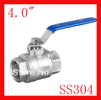 New arrival DN100 4.0 SS304 female 2 pc internal thread ball valve for water,oil and gas