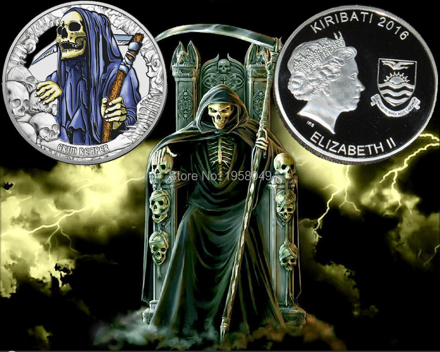 Free Shipping 3pcs/lot,Downies launch Tales From the Crypt coin,2016 Kiribati Grim Reaper Silver Coin