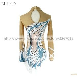 Image 2 - Women rhythmic gymnastics leotards for girls performance suit Artistic gymnastics dress Long sleeve Blue white stripes Kids