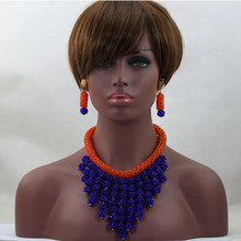 Fashionable African Costume Party Wedding Crystal Beads Jewelry Sets Orange Choker Bridal Necklace Set Free Shipping HX597