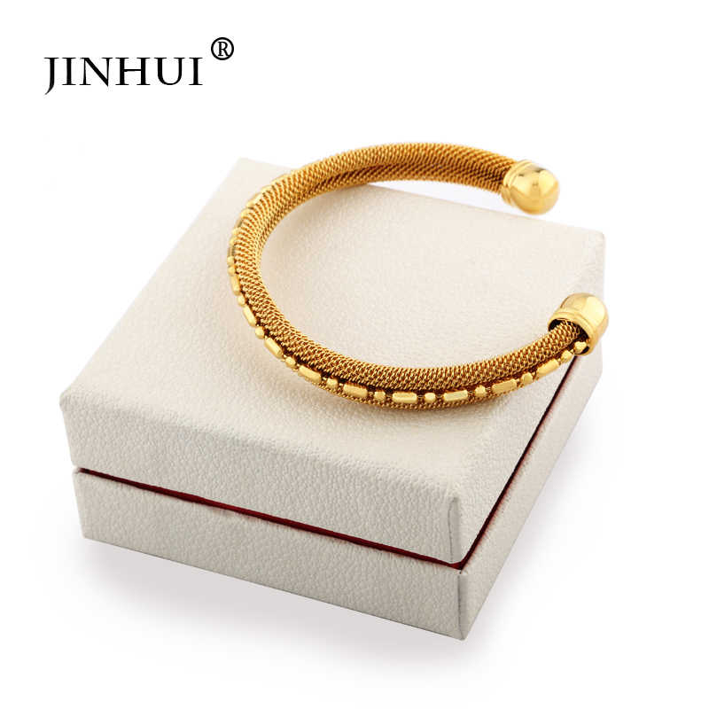 Pulseras de cobre dorado Jin Hui de 1 pieza para mujer, pulsera de joyería de boda de Dubái para novia, regalos africanos Ramadán para hombres