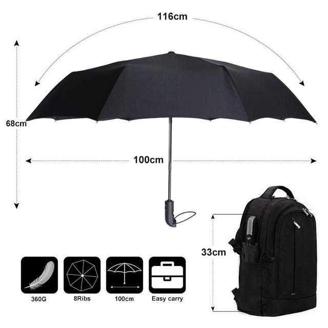 Srong Windproof Automatic 3Folding Umbrella Rain Women 8Ribs Aluminum Alloy Umbrellas For Men Business Dark Grid Handle Paraguas