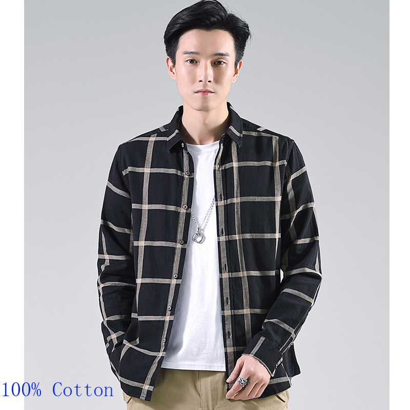 Spring Wholesale Casual Flannel Shirts Single Breasted long sleeve Full thick shirts Men's plaid high quality size M-2XL3XL 1