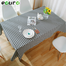 Great Triangle Black/white/gray Linen Cotton Table Cloth Electrical Appliances  Cover Tablecloth Tafelkleed 140
