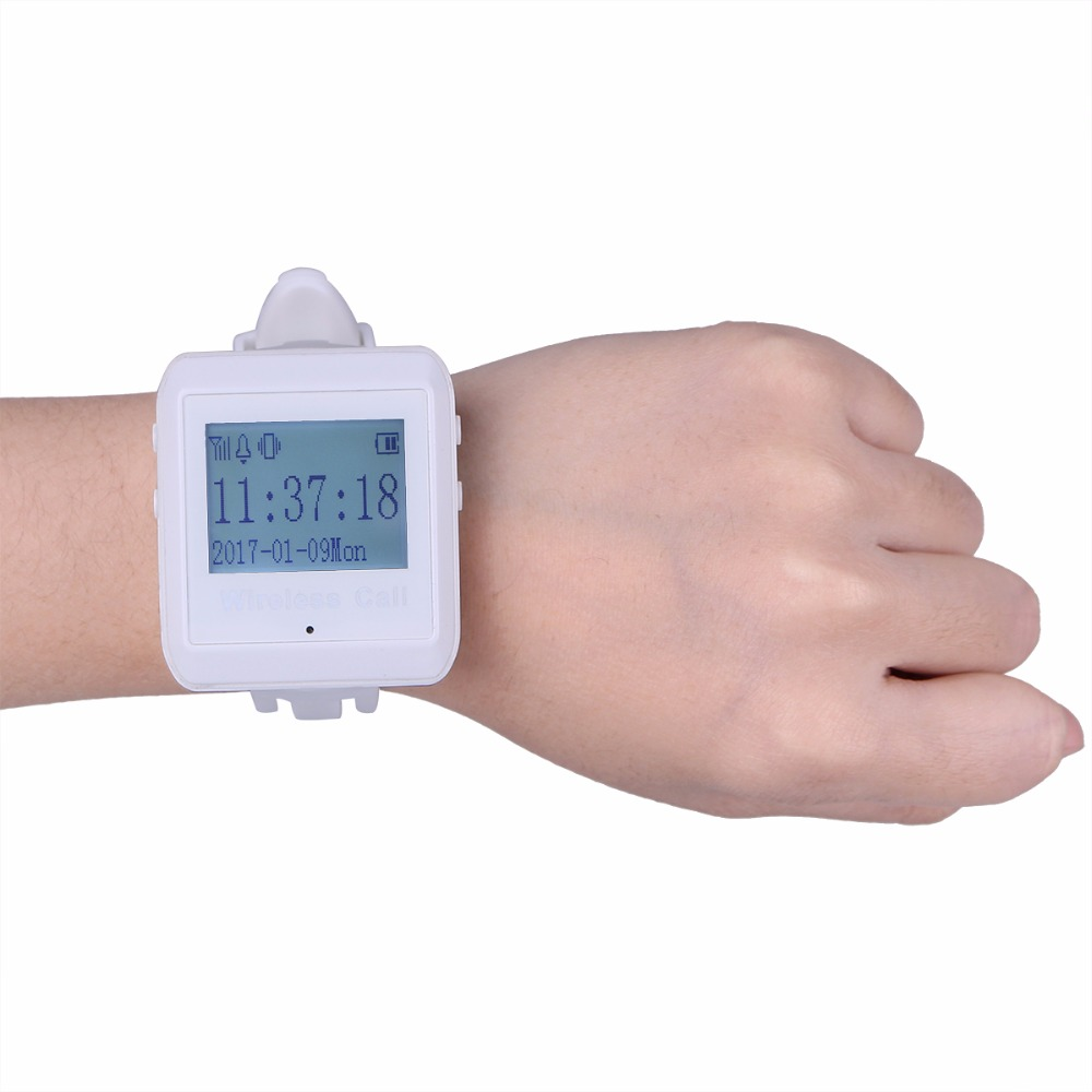 433MHz Wireless Calling Paging System Watch Pager Receiver Host Guest Waiting Pager for Restaurant Bank Equipment F3258 wireless buzzer calling system new good fashion restaurant guest caller paging equipment 1 display 7 call button