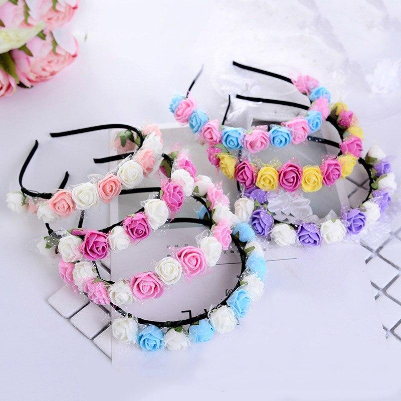 Hot Hair Accessories Bride And Children Flower Headband Yarn Form Wreath Headdress Romantic Hairband Headwear For Wedding Party