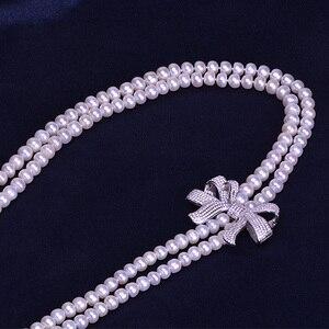 Image 2 - Zhboruini أزياء اللؤلؤ قلادة طويلة عالية guality الطبيعية المياه العذبة بيرل 925 فضة مجوهرات bowknot النساء قلادة