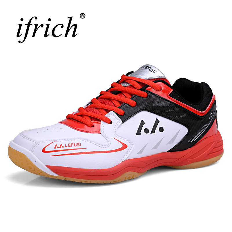 Badminton Mens Sneakers Red Green Sport Shoes Men Leather Tenis Badminton Shoes Breahtable Table Tennis Training Sneaker Size 11 цена