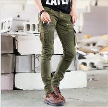 Новый Мужчины Франция Мода Впп Черный Army Green Cargo Воском байкер упругие карандаш брюки промывают Жан Тощий Хаки Мужские молния джинсы