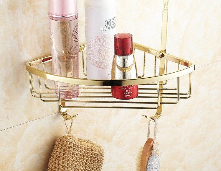 AUSWIND Kupfer zirkon gold farbe doppel dreieck korb badezimmer eckregal 2 stock badezimmer regal bad accessoires - 3