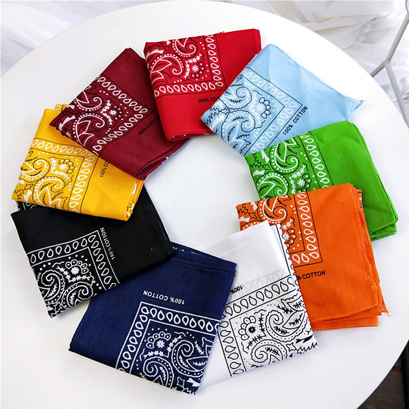 55*55cm Printing Women Square   Scarves   Cotton Satin Hip-Hop Bandana Headband   Wrap   Neck Wrist Band Headtie   Scarf   For Female