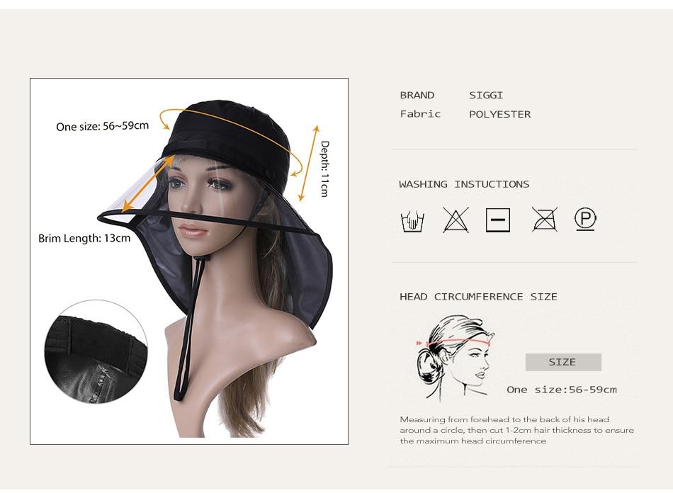 e6a1752137b SIGGI Waterproof Rain Hats For Women Elastic Chin Cord Transparent ...