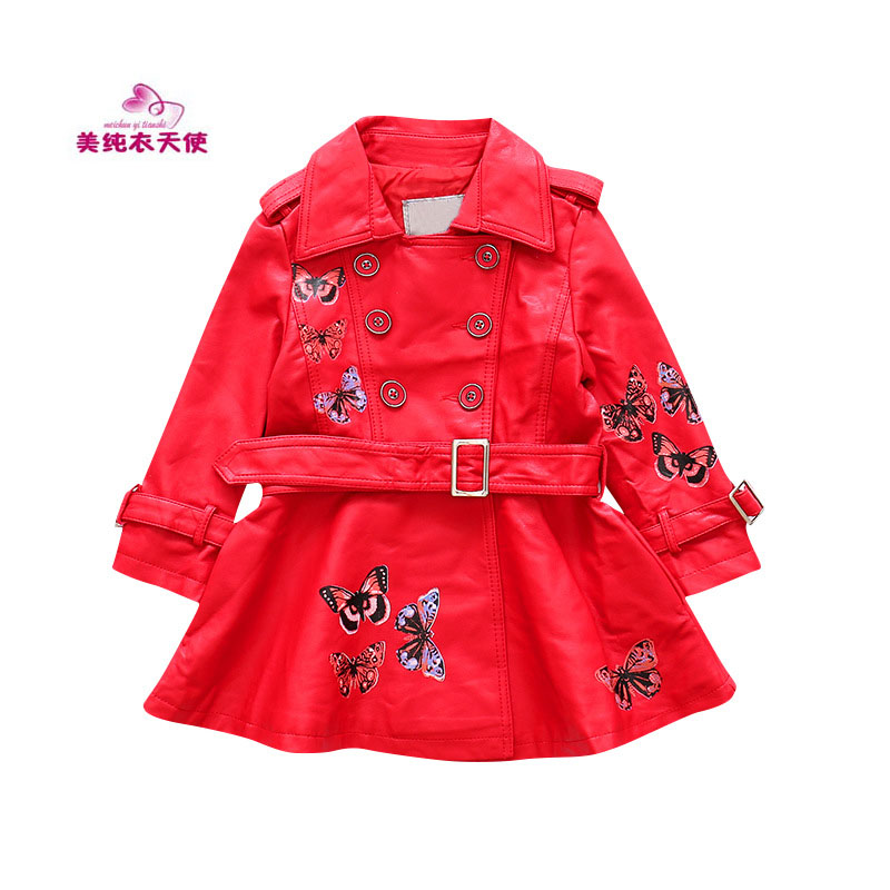 Girls PU Leather Jacket 2017 Autumn Winter Kids Butterfly Printing Long Leather Coat Fashion Children Clothing 4 6 8 10 12 Years 2015 autumn girls clothes fashion punk pu leather coat jacket shirt pants 3pcs children clothing set 4 15 years old kids clothes page href