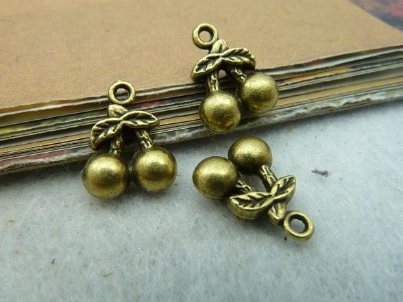 40Pcs Antique Bronze Cherry Charm DIY Jewelry Making