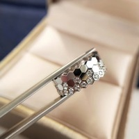 Pure 925 Sterling Silver love ring half crystal full zircon no zircon bee ring luxury brand jewelry for women female gift