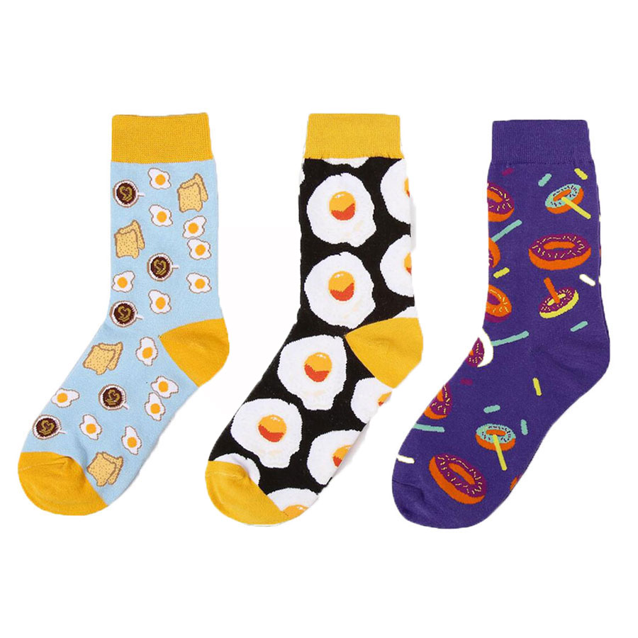 Women Jacquard Weave Knitted Funny Sock Adult Accessories Female Food Printed Novelty Pattern Printed Socks Women Socks