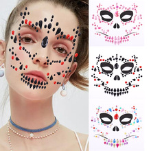 1Pc Halloween Face Terrorist Acrylic Drill Tattoo Environmental Masquerade Women Make-up Jewel Body Art Skull Stickers