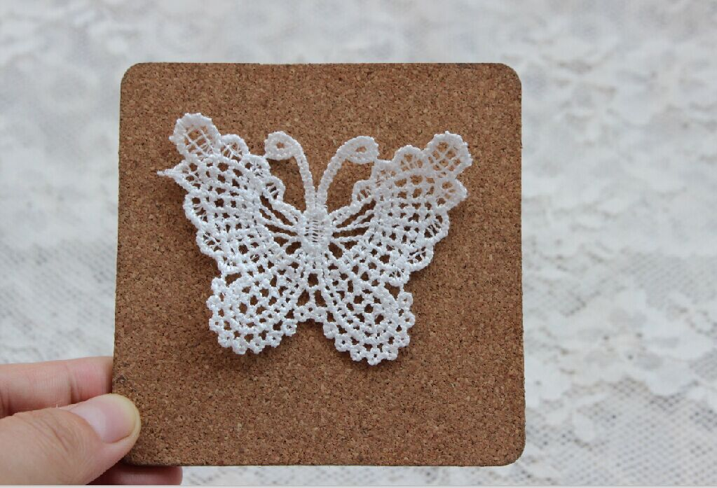 Venice <font><b>lace</b></font> patch applique white butterfly fabric <font><b>lace</b></font> patch handmade sewing accessories <font><b>20</b></font> pics/Lot image