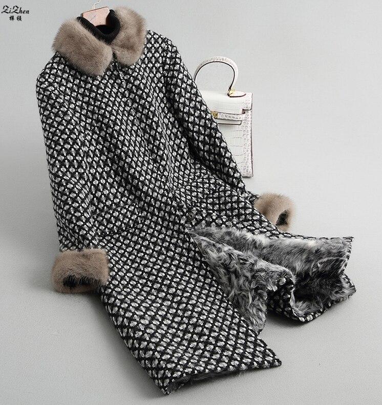 ZiZhen Hiver Femmes Naturel Fourrure D'agneau Doublure Manteau Laine Longue Outwear Avec Réel De Fourrure De Vison Col Manchette Poches 180717 -6,18608