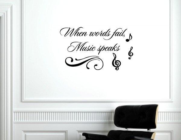 music sprüche englisch When words fail, music speaks Vinyl wall decals quotes sayings  music sprüche englisch
