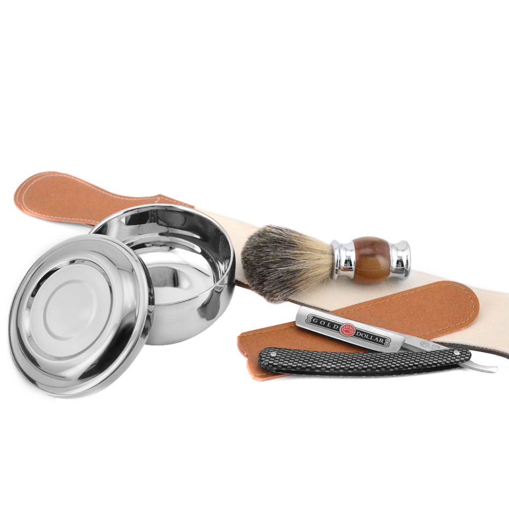 Zy Pure Badger Hair Men Shaving Beard Brush Gold Dollar