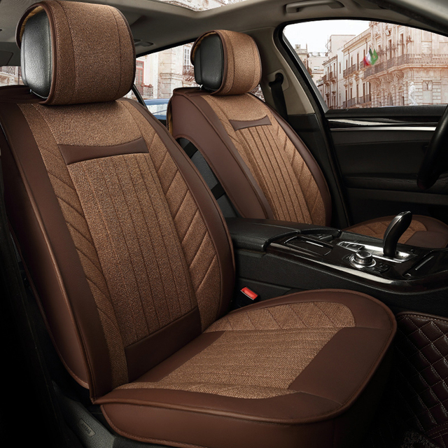 stitching design breathable linen fabric universal car seat covers wearable comfortable leather car seat cover car