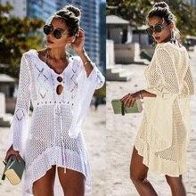 Zkcenier 2019 вязаное белое пляжное платье-накидка Туника длинное Парео Бикини, верхняя одежда плавающий плащ пляжная одежда