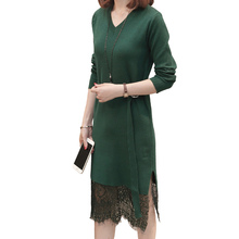 Autumn Winter Women Warm Sweater Dresses Vestidos V-neck Long Sleeve Slim Casual Lace Patchwork Knitted Dress vestidos elegant sweater dress women v neck warm knitted autumn casual winter dresses women 2016 plus size lj7214t
