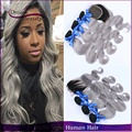 Ombre Brazilian Virgin Hair Body Wave 3Pcs With Closure T1B/Grey Two Tone Ombre Silver Brazilian Hair Bundles Human Hair Weave