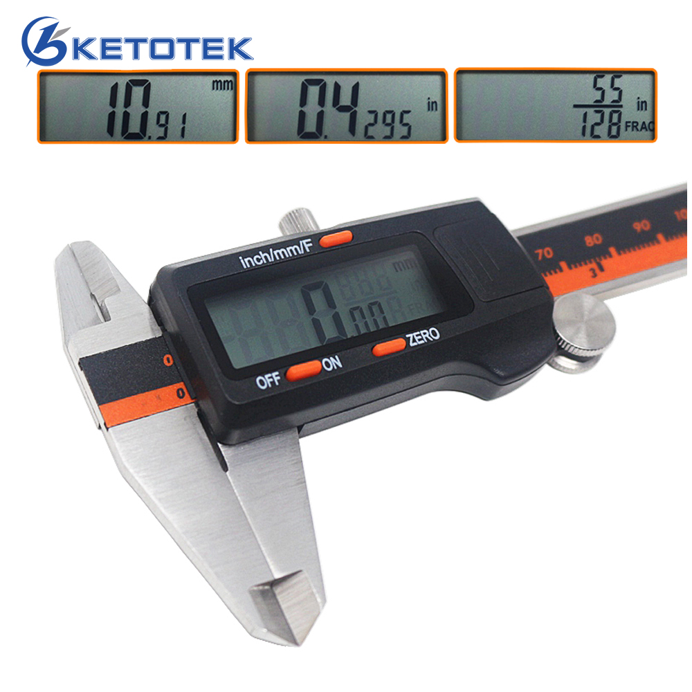 6-Inch 150mm Stainless Steel Caliper Fraction / MM / Inch Electronic Digital LCD Vernier Micrometer Depth Height Tester
