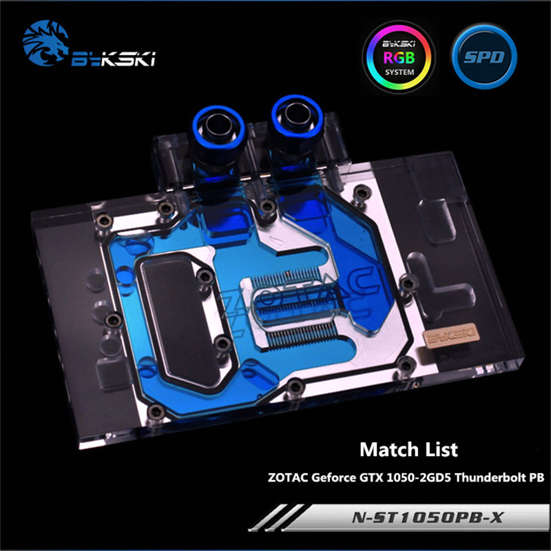 Bykski Full Coverage GPU Water Block For ZOTAC Geforce GTX 1050-2GD5 Thunderbolt PB Graphics Card N-ST1050PB-X computador cooling fan replacement for msi twin frozr ii r7770 hd 7770 n460 n560 gtx graphics video card fans pld08010s12hh