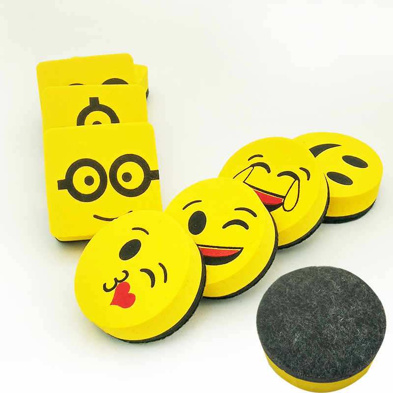 2pcs Yellow Smile Face Whiteboard Eraser Magnetic Board Erasers Wipe Dry School Blackboard Marker Cleaner 6 Styles Randomly Sent image